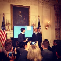 "Obama shaking hands with David Karp at the event's close. ""You could have gone into journalism,"" he said to Karp."